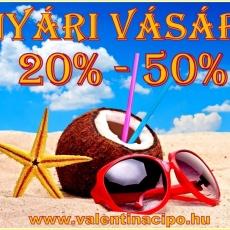 Nyár vásár a Valentina Cipőboltban és webáruhzában! Minden nyári cipő, szandál, papucs 20 -50 százalékos kedvezménnyel vásárolható! www.valentinacipo.hu
