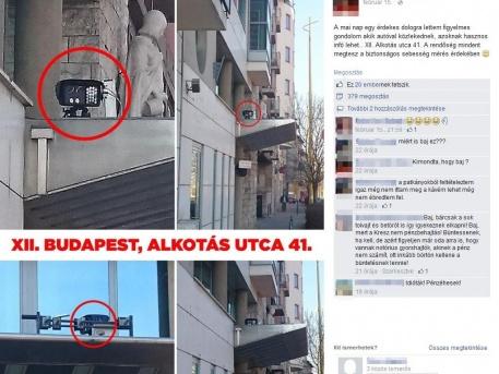 """A Facebook-on keringő kép az Alkotás utca 41-nél kihelyezett """"traffipaxról"""""""