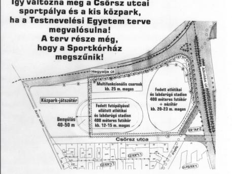 Az egyik terv-variáns a Csörsz utcai sportpályák beépítésére