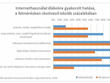 A netezés hatása a diákokra, a megkérdezett iskolák százalékában