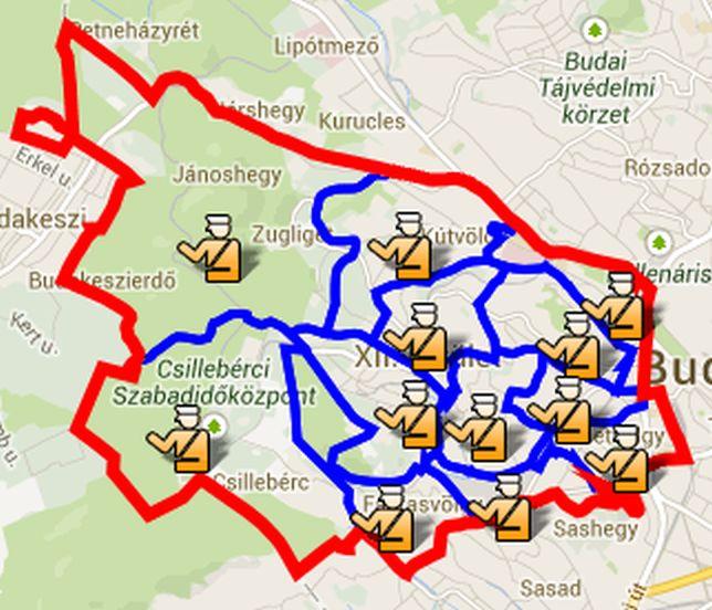 A XII. kerületi körzeti megbízottak illetékességi területei (forrás: hegyvidek.hu)