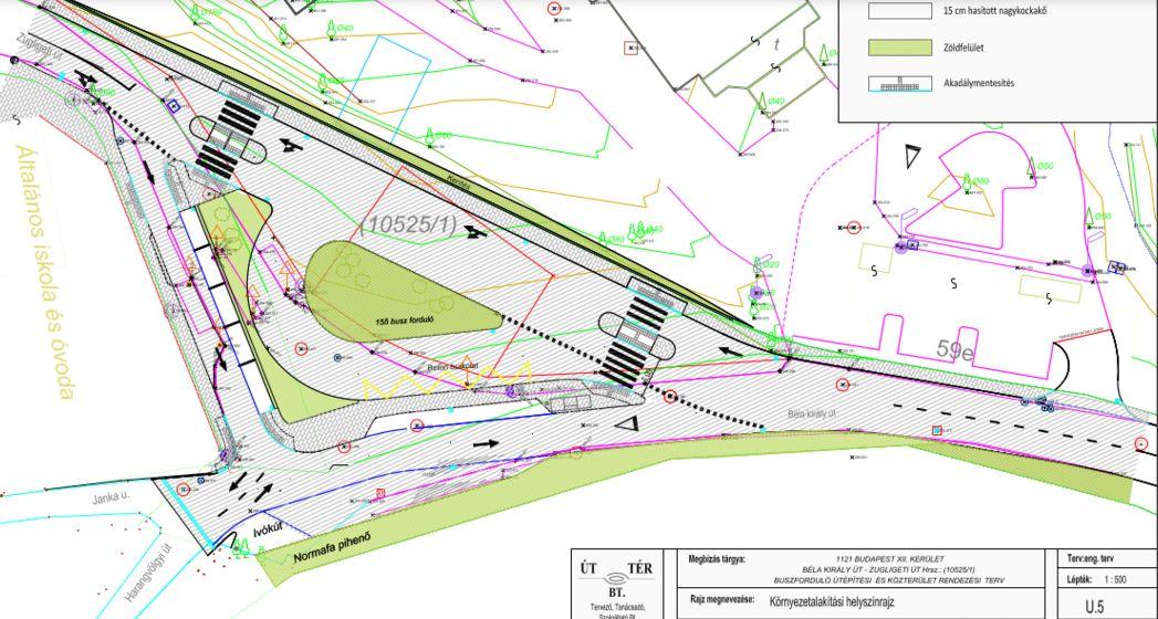 A Béla király út és a Zugligeti út találkozásánál kialakítandó tér terve