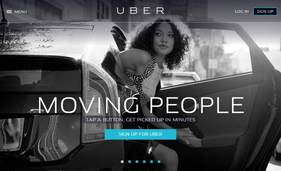 Az Uber honlapja